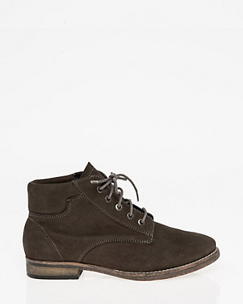 Nubuck Leather Lace-Up Boot