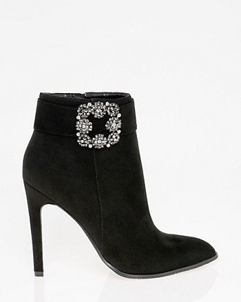 Brooch Embellished Pointy Toe Ankle Boot