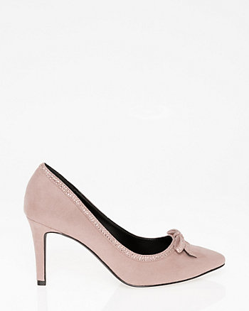Jewel Embellished Pointy Toe Bow Pump