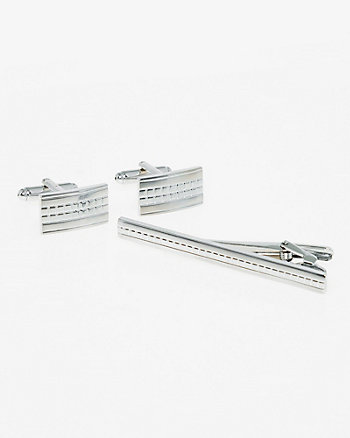 Metal Cufflinks & Tie Clip Set