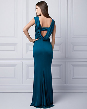 Embellished Silk Knit Cowl Neck Gown