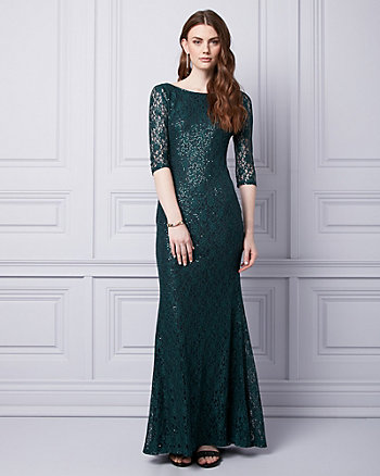 Sequin & Lace V-Back Gown