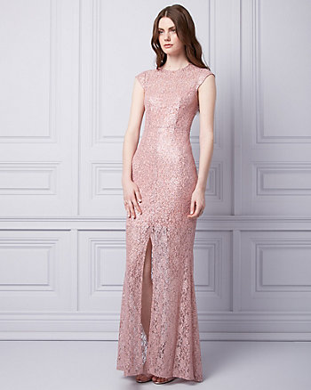 Sequin & Lace Crew Neck Gown