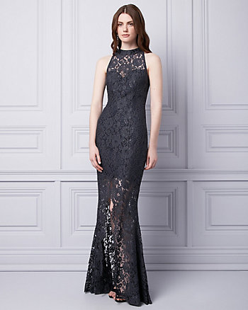 Lace Mock Neck Gown