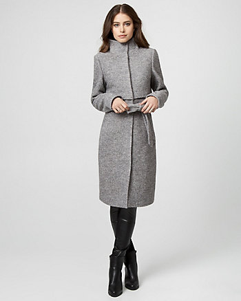 Boiled Wool Funnel Neck Coat