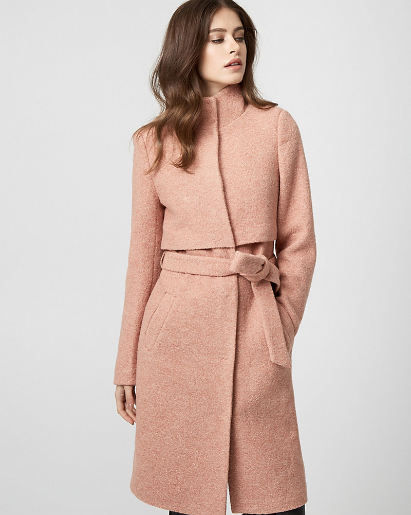 82cc3a6ca3245 Boiled Wool Funnel Neck Coat