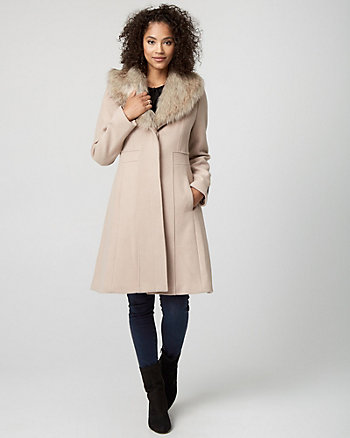 Wool Blend Coat with Faux Fur Collar