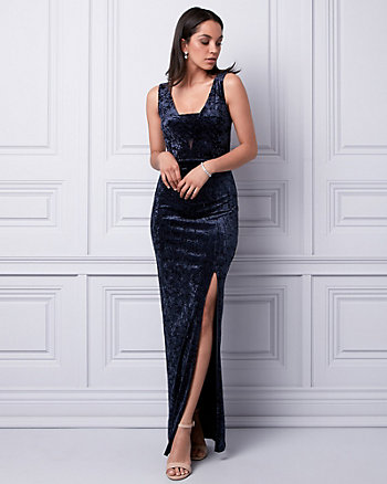 Crushed Velvet V-Neck Cutout Gown