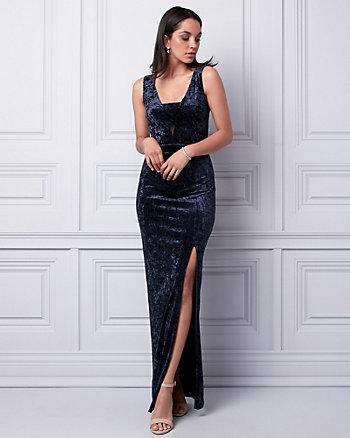 Crushed Velvet V-Neck Cutout Gown