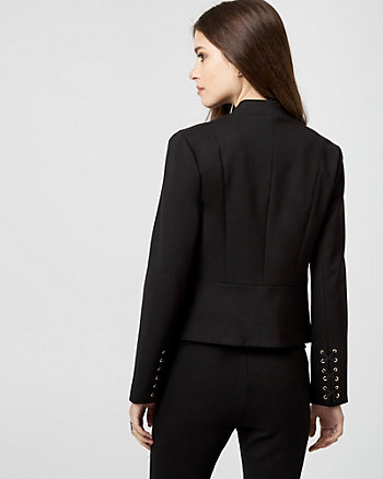 Ponte Knit Raised Collar Blazer