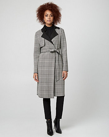 Glen Check Viscose Blend Trench Coat