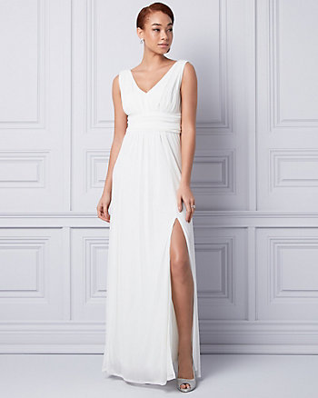 Knit V-Neck Ruched Gown