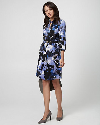 Abstract Print Crêpe de Chine Tunic Dress
