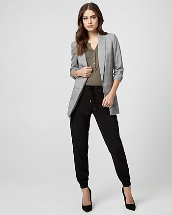 Glen Check Viscose Blend Oversized Blazer