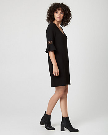 Lace & Crêpe V-Neck Dress