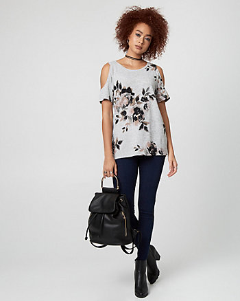 Floral Print Cut & Sew Knit Scoop Neck Top