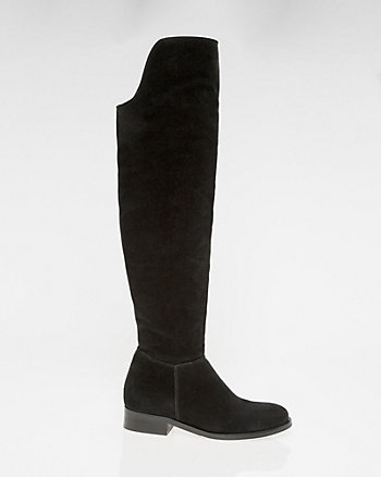 Suede Round Toe Over-the-Knee Boot