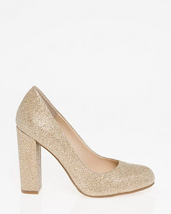 Glitter Mesh Almond Toe Pump