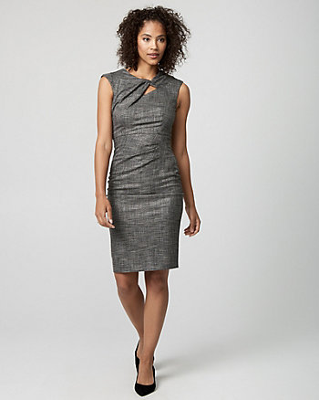 Houndstooth Tweed Cutout Dress