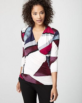 Geo Print Viscose Blend Wrap-Like Top
