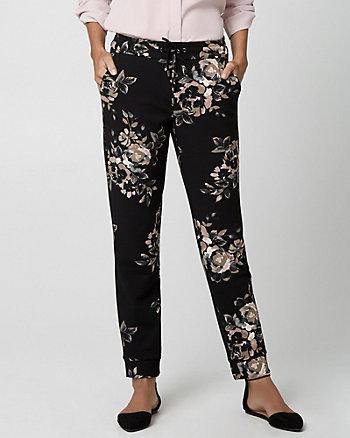 Floral Print Crêpe Knit Slim Leg Pant