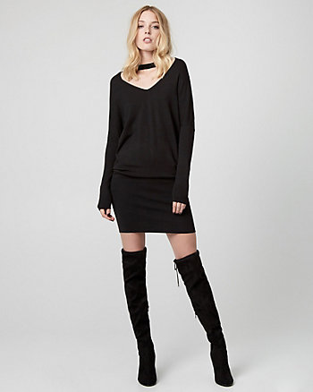 Viscose Blend Choker Neck Sweater Dress