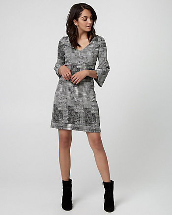 Glen Check Jacquard V-Neck Tunic Dress