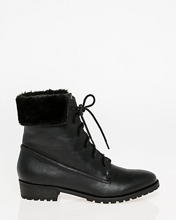 Faux Fur Lace-Up Ankle Boot