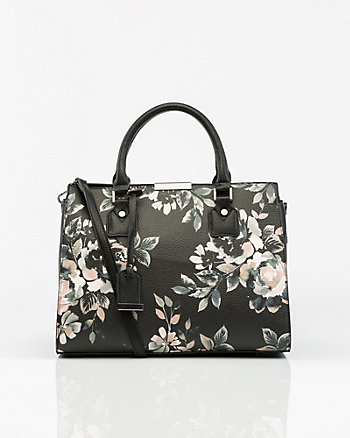 Floral Print Saffiano Leather-Like Satchel