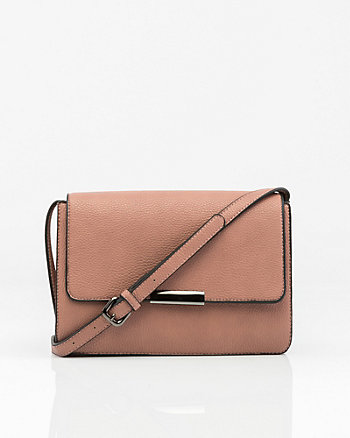 Leather-Like Flapover Clutch