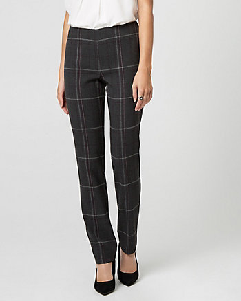 Check Print Viscose Blend Straight Leg Pant