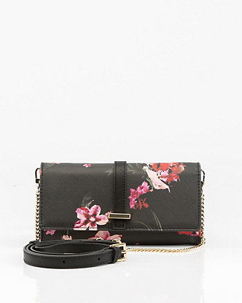 Floral Print Saffiano Leather-Like Wallet