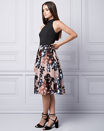 Floral Print Burnout Halter Dress