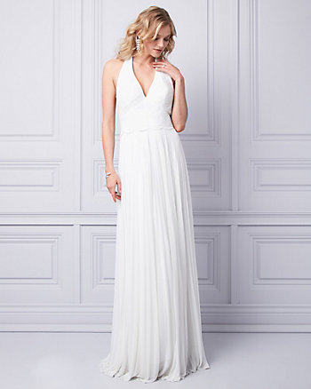 Embroidered Sequin & Knit V-Neck Gown