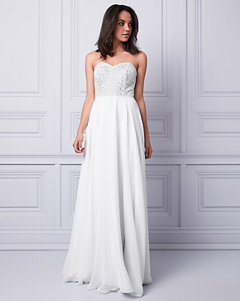 Embroidered Sequin & Mesh Strapless Gown