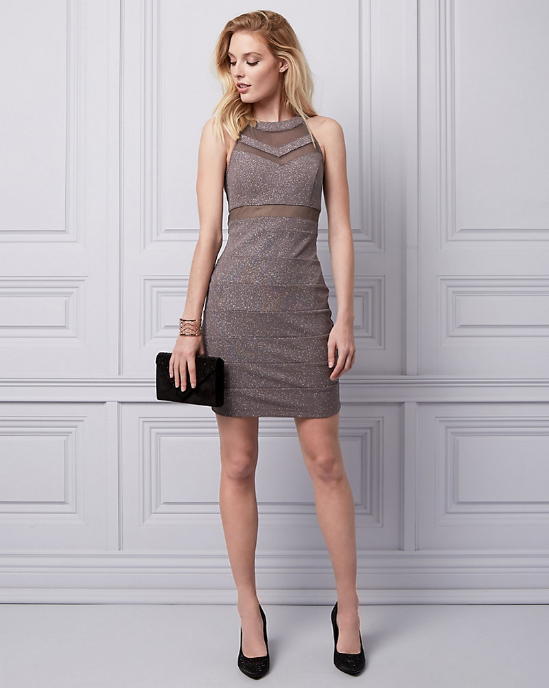 Sparkle Knit Halter Cocktail Dress | LE CHÂTEAU