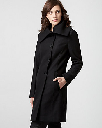 Melton Wool Blend Split Cowl Neck Coat
