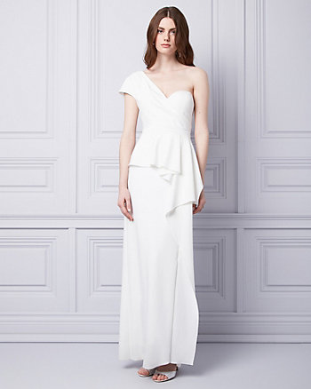 Knit Crêpe One Shoulder Ruffle Gown