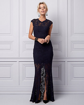 Stretch Lace Illusion Gown