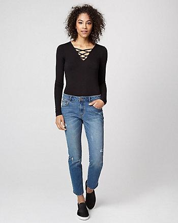 Jersey Knit Lace-Up Bodysuit