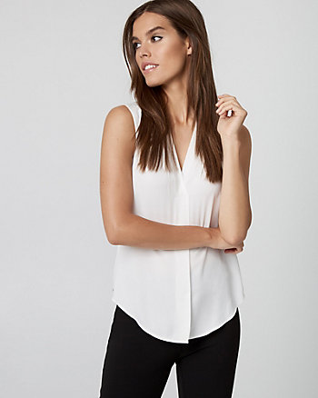 Shiny Twill V-Neck Sleeveless Blouse