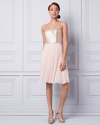 Sequin & Chiffon Strapless Dress