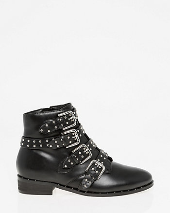 Studded Almond Toe Ankle Boot