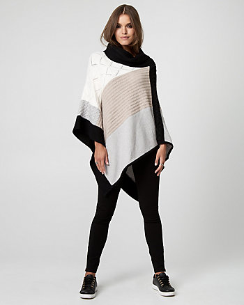 Colour Block Brushed Viscose Poncho