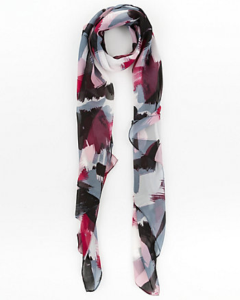 Abstract Print Silk-Like Scarf