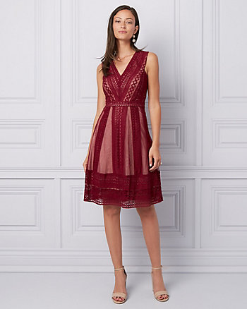 Lace & Mesh V-Neck Cocktail Dress