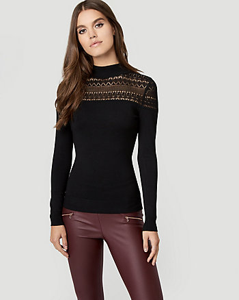 Viscose Blend Pointelle Mock Neck Sweater