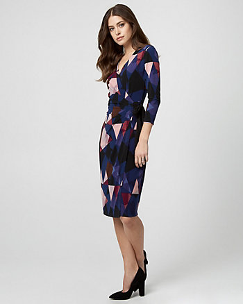 Geo Print Knit Wrap-Like Dress