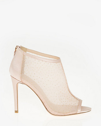 Speckled Mesh & Satin Peep Toe Shootie