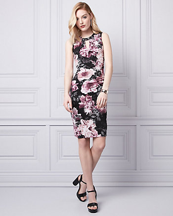 Floral Print Knit V-Neck Ruched Dress